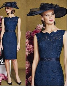 Cheap mother of bride, Buy Quality mother of bride dress directly from China mother of the bride Suppliers: vestidos de la novia 2017 Navy Lace Short Madre de los New Arrival Fashion O-Neck Formal Mother of the Bride Dresses Mother Of Bride Outfits, Mother Of Groom Dresses, Mothers Dresses, Mother Of The Bride, Formal Dresses For Women, Formal Evening Dresses, Dress Formal, Wedding Dress Clothes, Wedding Dresses