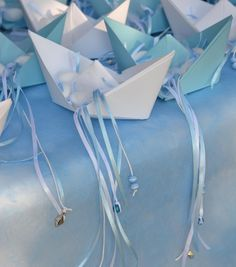 instead of goodie bags for grown-ups.if we choose sea theme Origami Sailboat, Baby Shower Favours, Christening Decorations, Greek Blue, Baby Event, Baby Boy Christening, Boat Wedding, Blue Boat, Greece Wedding