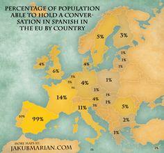 """Képtalálat a következőre: """"europe percentage hold a conversation in spanish"""""""