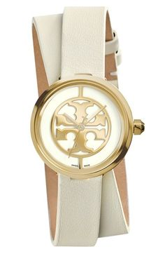 Tory Burch 'Reva' Logo Dial Double Wrap Leather Strap Watch, 28mm available at #Nordstrom