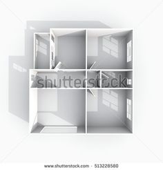 #Stock #photo: #3d #interior #rendering of #empty #paper #model #home #apartment #shutterstock