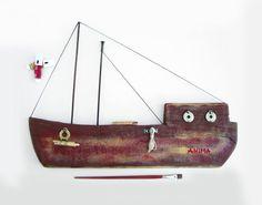 Vintage Steampunk Ship Fishing Boat Metal By Cozystudio On