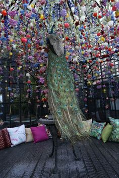 Peacock at the Hendrick's Horticultural Oasis at Blakes Hotel - designed by Matthew Williamson and Rebecca Louise Law #MWblakes