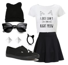 """Monochrome Meow"" by bryn-werner on Polyvore"
