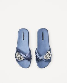 ZARA - WOMAN - SATIN SLIDES WITH GEM BUCKLE