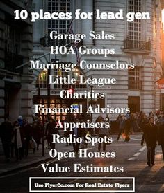 10 Unexpected Places to Generate Leads - The Leading Real Estate Marketing Blog from https://www.flyerco.com #realestate #realtor