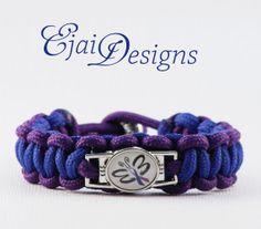 Rheumatoid Arthritis Blue Purple Ribbon Awareness 550 Paracord Charm Bracelet