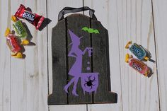 Witch Gravestone Spider Sign Halloween Wall Decor Sign Kids