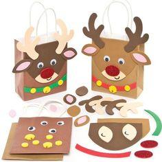 Sacchetti Regalo a forma di Renna di Babbo Natale per Bambini, da Creare e Decorare (confezione da 4)