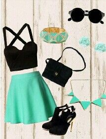 Black and turquoise outfit • cropped top • Skirt • Purse • Shoes • Necklace ~Teenage Fashion~ This is such as cute outfit that I would literally only wear it on the weekends, the black and mint green mixes well in this combination..