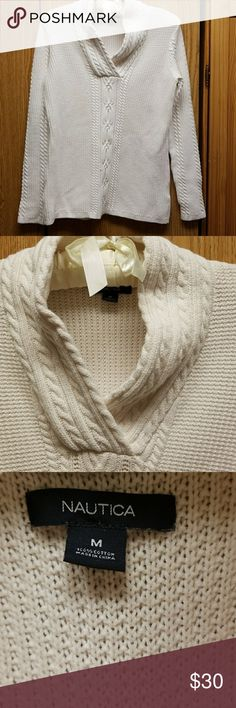 NAUTICA WOMEN'S FISHERMAN SHAWL COLLAR SWEATER MED NAUTICA FISHERMAN SWEATER SHAWL COLLAR CABLE KNIT DESIGN  CREAM COLOR BEAUTIFUL KNIT DETAIL 100% COTTON Machine wash cold inside out gentle cycle Tumble dry low Nautica Sweaters V-Necks
