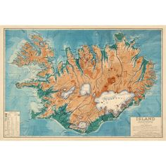 "Old map of Iceland Decorative vintage map Islandia map 16 x 24"" Print (470 MXN) ❤ liked on Polyvore featuring home, home decor, wall art, fillers, map wall art, vintage wall art, map home decor, vintage map wall art and vintage home accessories"