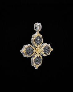 Konstantino Asteri 18K & Silver 1.35 Ct. Tw. Black Diamond Clover Pendant