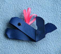 Preppy Whale Ribbon Sculpture Hair Clip by CelticTideCreations, $4.75
