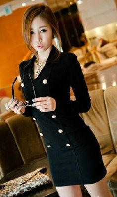 211882106b2f V Neck Long Sleeve Double Breasted Cotton Black Dress Double Breasted