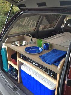 Mini inbouwkeuken wagen met gasvuur watervoorziening en tafeltje