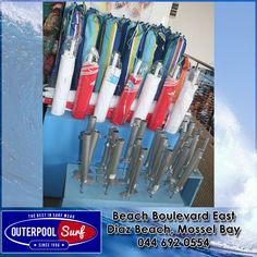 We have beach umbrellas in store as well as the umbrella holders.