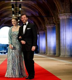 Princess Stephanie of Luxembourg Photos - (L-R) Princess Stephanie of Luxembourg and Prince Guillaume of Luxembourg arrive to attend a dinner hosted by Queen Beatrix of The Netherlands ahead of her abdication at Rijksmuseum on April 29, 2013 in Amsterdam, Netherlands. - Queen Beatrix Hosts a Dinner Ahead of Her Abdication
