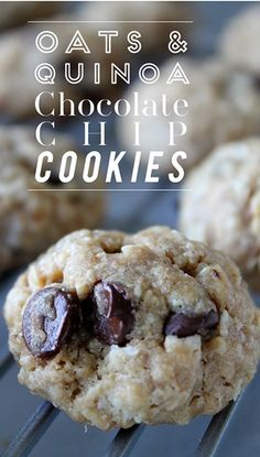 The Vault Files: Food File: Guilt free oats & quinoa chocolate chip cookies Gluten Free Desserts, Vegan Desserts, Just Desserts, Delicious Desserts, Yummy Food, Healthier Desserts, Vegan Dishes, Healthy Sweets, Healthy Baking