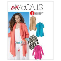 Sewing Ideas McCall's Pattern (L-XL-XXL) - McCall's Misses' Shawl Collar Cardigans (L-XL-XXL) Cardigan has cascading shawl collar with shaped front hems. Wrong side of fabric shows. Shawl Collar Cardigan, Cardigan Pattern, Jacket Pattern, Clothing Patterns, Dress Patterns, Mccalls Sewing Patterns, Moda Plus Size, Plus Size Womens Clothing, Sewing Clothes