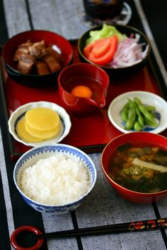 Japanese Breakfast (Rice, Okra and Wakame Seaweed Miso Soup, Raw Egg, Takuan Radish Pickles, Edamame Beans, Fresh Tomato Salad, Soy Simmered Pork)