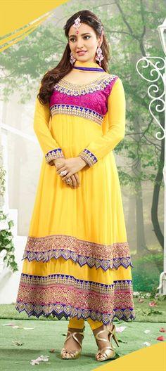 413687,: #NehaSharma #anarkali collection.  #Bollywood #getthislook #lace #layers #yellow #partywear