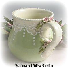 Whimsical Bliss Studios - Green Rosebuds and Lace Mug