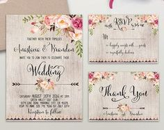 Floral Wedding Invitation Printable Boho Chic by DigartDesigns
