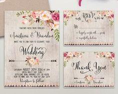 Floral Wedding Invitation Printable Boho Chic by DigartDesigns
