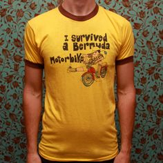 I survived a Bermuda motorbike ringer Tshirt by RomancingTheGhost, $14.43