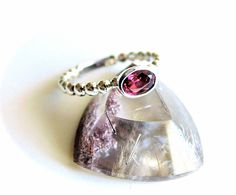 Rhodolite Garnet Stackable Ring Sterling Silver from Resa Wilkinson Jewelry