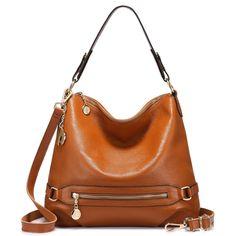 299199ce2d Amazon.com  Genuine Leather Handbags for Women Large Designer Ladies  Shoulder Bag Bucket Style  Shoes