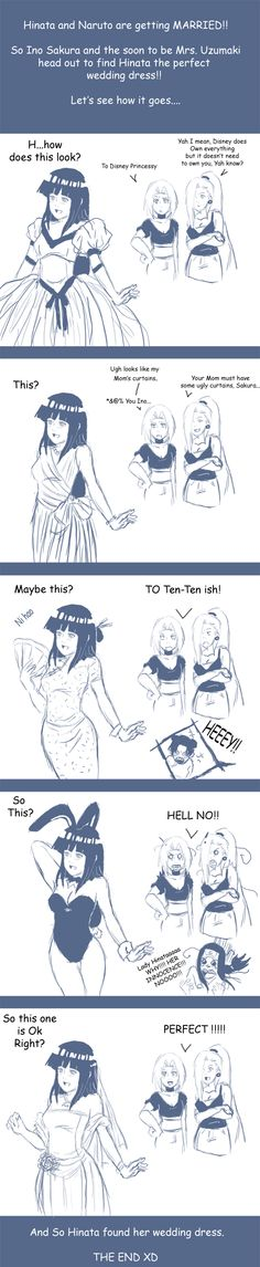 Just like an older brother, Neji doesn't want Hinata wearing something inappropriate. She's too cute for that anyway