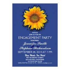 sunflower blue engagement party invitation