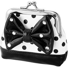 Retro Black and White Polka Dot Coin Purse Cute Purses, Purses And Bags, Dots Fashion, Monochrom, Black N White, Color Black, Clutch Wallet, Bow Clutch, Retro