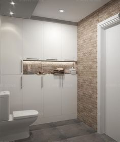 White Beige Master Bathroom With Flat Panel Cabinets. Materials: White,  Beige Wall Ceramic Tile And Grey Floor Tile.