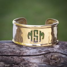 Cut Out Monogram Rimmed on Gold 1.0 – Rustic Cuff