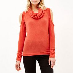 Red cowl neck cold shoulder jumper