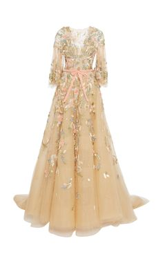Floral Embellishment Gown by MARCHESA for Preorder on Moda Operandi