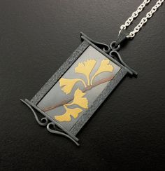 Ginkgo leaves gold Keum Boo silver pendant II by KAZNESQ on Etsy