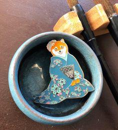 Blue shiba inu Geisha enamel pin-shiba inu enamel pin-geisha
