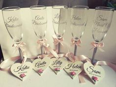 Beautiful champagne flutes with a lovely wooden heart gift set for your bridal party.