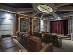 Art Deco Home Theater With Skylight Exposed Beam Carpet Crown Molding Doors Open Midland