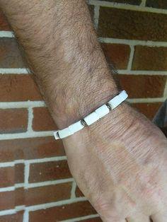 White beaded mens bracelet by JewelrybyDecember67 on Etsy, $30.00