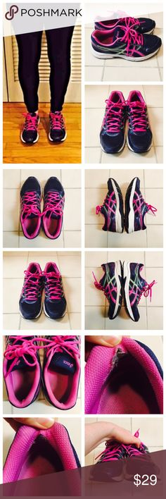 Asics Gel Contend 3 Running Shoes Dark navy ASICS Gel Contend 3 sneakers with pink laces. Heavily worn --- especially in heels where the fabric has torn inside. However, they are very comfortable! They will need to be shined and cleaned up quite a bit! Asics Shoes Sneakers