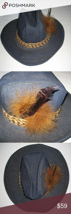 Vintage Pimpin Denim Feather Paisley Cowboy Hat XL Vintage Denim 70's Pimpin Cowboy Hat. Feathers, banded, paisley lined. Rare. UNBRANDED Accessories Hats