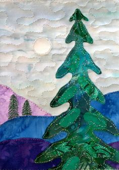 Quilted Christmas tree by Kit Robinson, 2009, featured at Subversive Stitchers
