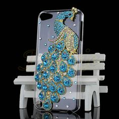 Beautiful 3D Peacock Rhinestone Bling Clear Back Case Cover For iPod Touch 5 5G Ahh I love
