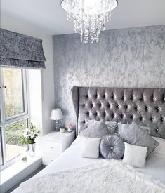 Grey, silver, white crushed velvet bedroom. Modern decor. Inspo from Insta.