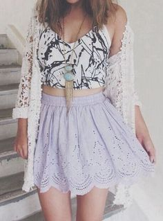 #street #style summer / cardigan + crop top + purple skirt